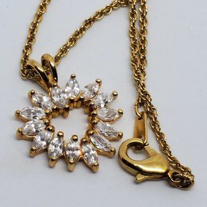 Gold Tone Crystal Heart Necklace Love and Romance